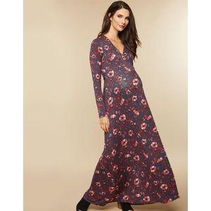 Motherhood Maternity Gray Floral Wrap Maxi Dress